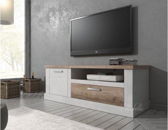 Witte Hoge Tv Kast.Bol Com Tv Meubel Danvill Wit Eiken 140 Cm
