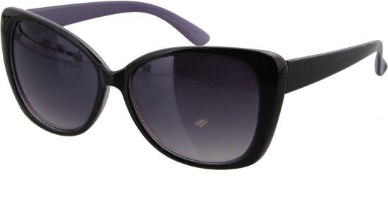 c5d20ac230503d Zonnebril met zwart glanzend montuur en paars aan de binnenkant.