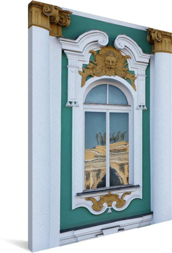 Decoratief raam van het Hermitage museum in Rusland Canvas 40x60 cm - Foto print op Canvas schilderij (Wanddecoratie woonkamer / slaapkamer)