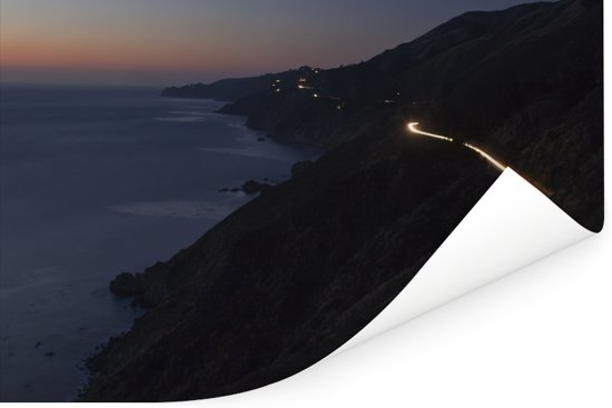 Weg langs de kust van de Stille Oceaan bij Big Sur Amerika Poster 180x120 cm - Foto print op Poster (wanddecoratie woonkamer / slaapkamer) XXL / Groot formaat!