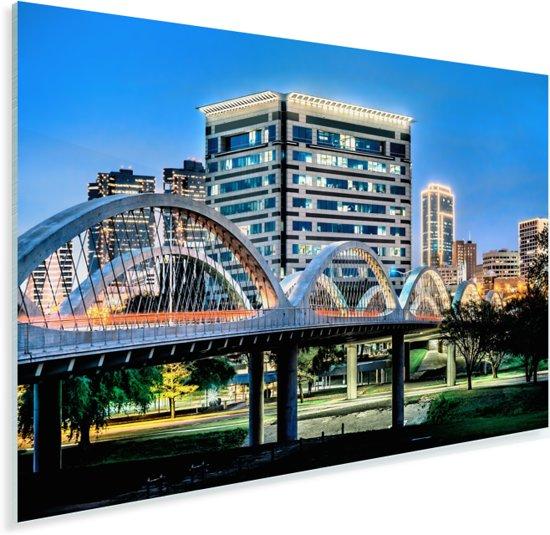 Downtown Fort Worth en de iconische West Seventh Street-brug over de Trinity River Plexiglas 180x120 cm - Foto print op Glas (Plexiglas wanddecoratie) XXL / Groot formaat!