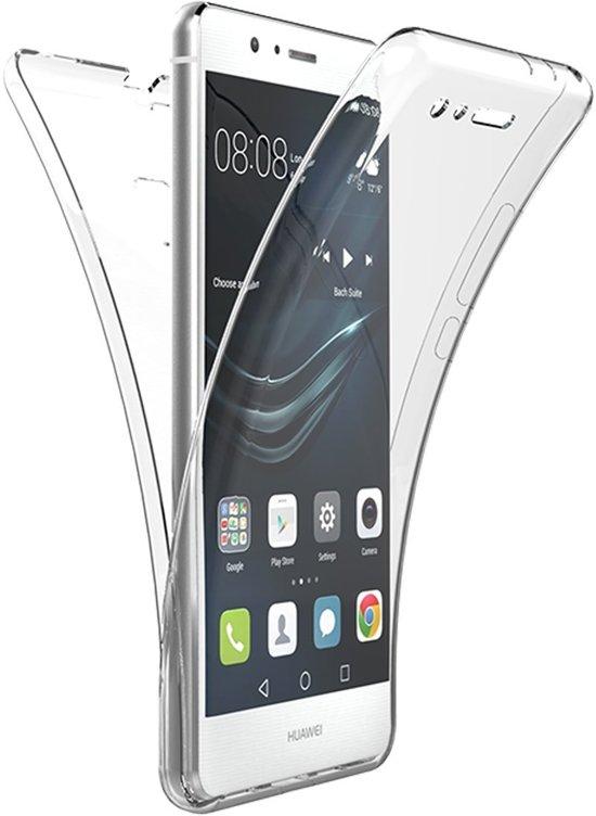 Volledige 360 Graden Bescherming (Voor en Achterkant) Edged Siliconen Gel TPU Case Screenprotector Transparant Cover Hoesje - Huawei P9 in Heereburen