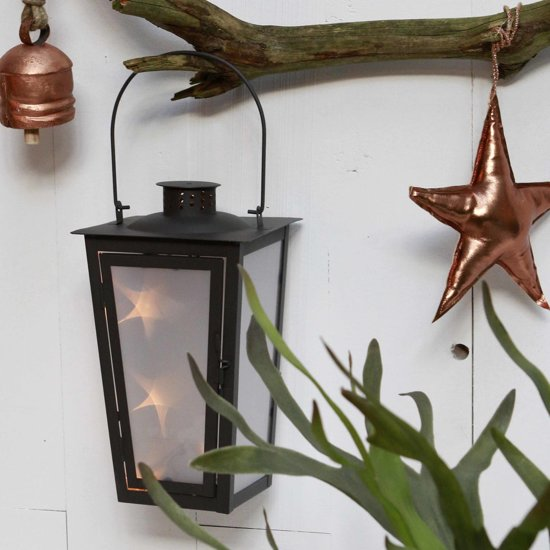 bol.com   Luca Lighting - Lantaarn metaal bruin met LED verlichting ...