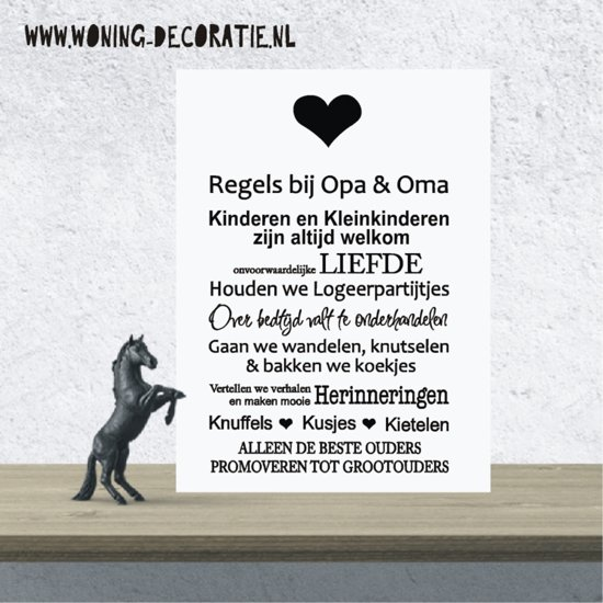A195 Regels Opa en oma wit zwart teksbord/wandbord