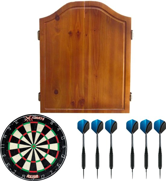 Dragon darts - houten kabinet - starterpack - inclusief dartbord en dartpijlen - eikenhout