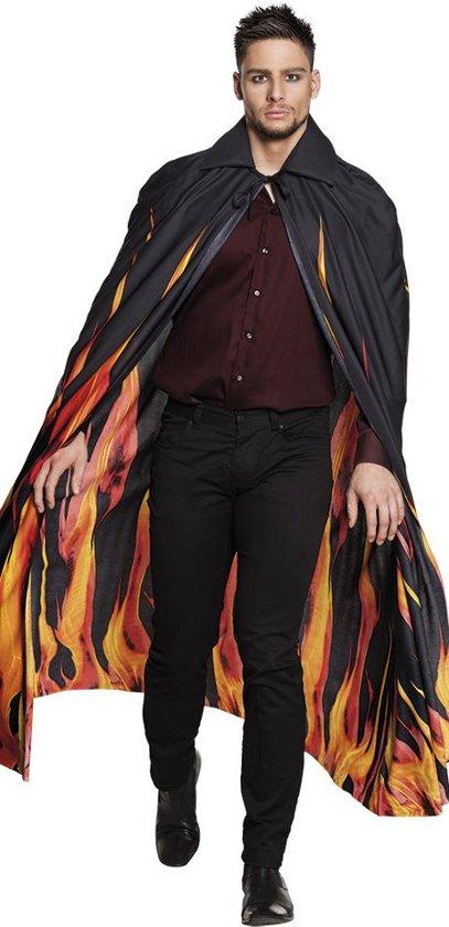 Zwarte vuur cape voor volwassenen - Verkleedattribuut