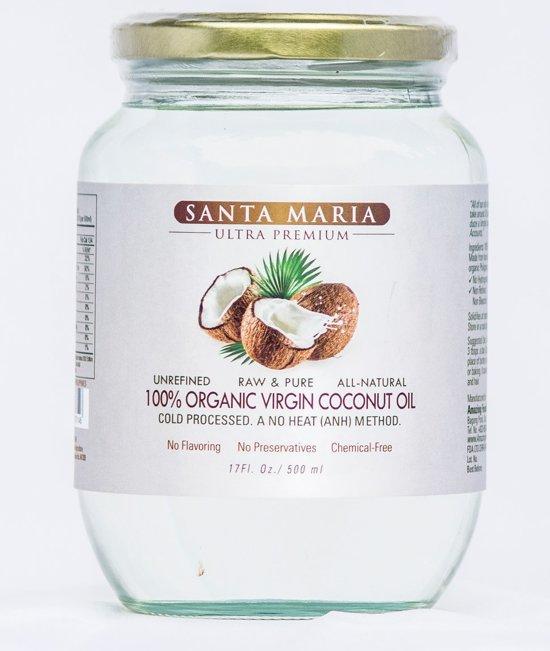 Santa Maria kokosolie. BESTE KWALITEIT! 100% biologisch, 100% organisch, 100% echt koud geperst, Extra Virgin Raw Coconut-oil. 500ml.