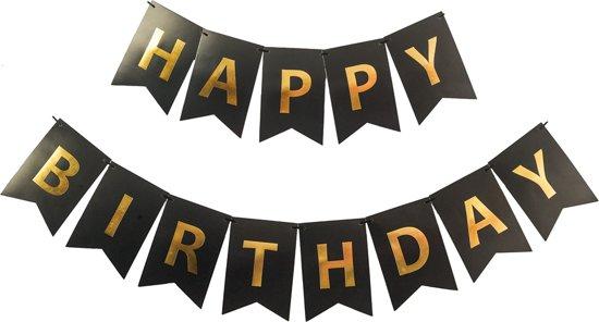 Happy birthday slinger verjaardag zwart for Goud zwart versiering