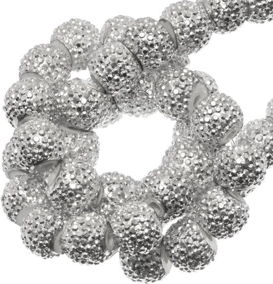 Acryl Kralen Rhinestone (4 mm) Silver (45 Stuks)