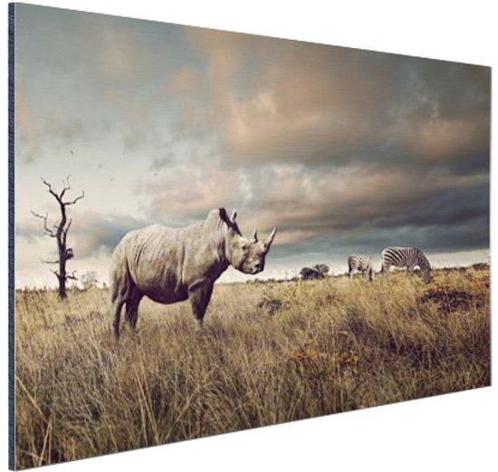 Afrikaanse dieren op de savanne Aluminium 30x20 cm - Foto print op Aluminium (metaal wanddecoratie)