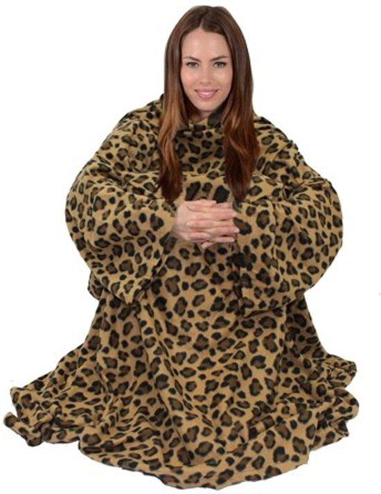 Fleece Deken Met Mouwen.Fleece Deken Met Mouwen Luipaardprint