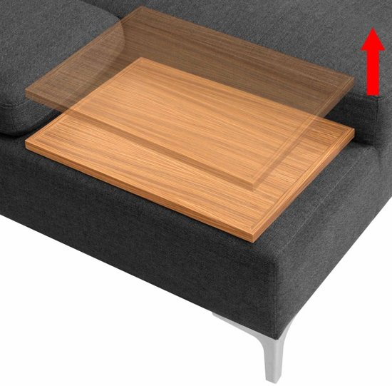 vidaXL Bank L-vormig met houten blad XXL 300 cm stof donkergrijs