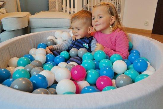 Ballenbad - stevige ballenbak - 90 x 30 cm - 300 ballen Ø 7 cm - wit blauw roze grijs turquoise