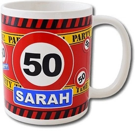 Favoriete bol.com | Verjaardag 50 jaar Sarah mok / beker 250 ml, Merkloos #AR53