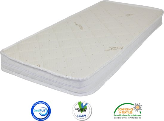 Matrassenmaker matras 55x110 koudschuim hr40 organisch katoen met rits