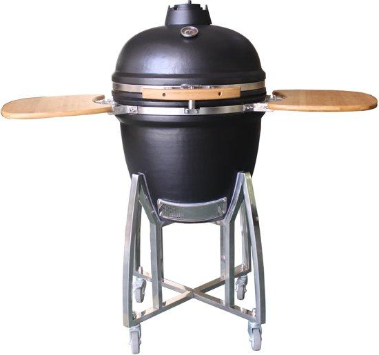 Patton Kamado Grill 21.4cookz Kamado Bbq 21 Graphite Houtskoolbarbecue Large Mat Zwart