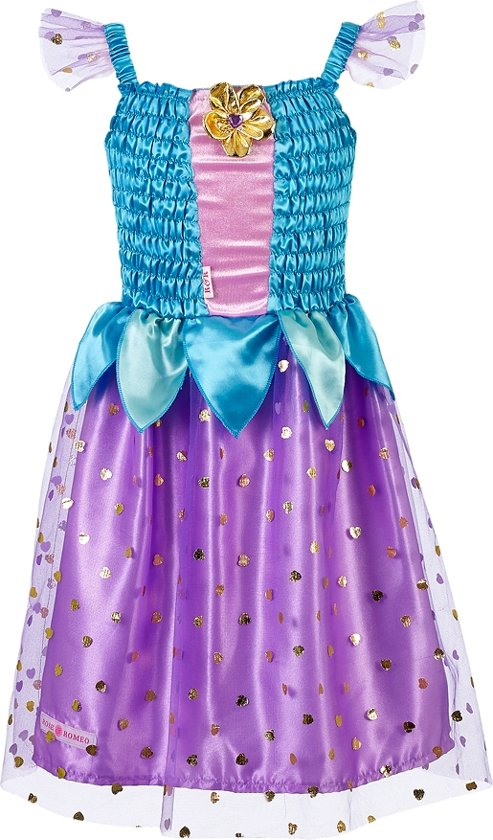 Prinses, Ellette jurk, groen/paars (5-7 jaar) 110/122