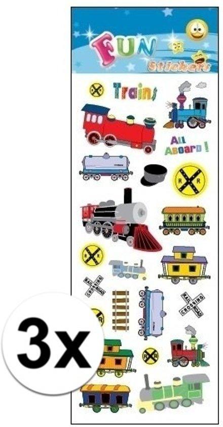 3x Stickervel treinen - kinder stickers