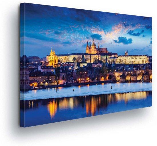 City Prague River Canvas Print 100cm x 75cm
