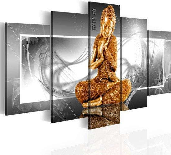 Canvas Schilderij - Gouden Boeddha, Zilver/Goud, 2 Maten, 5luik