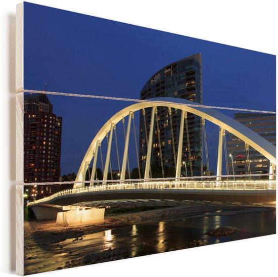 Lichten van Main Street Bridge over de Scioto River in Columbus van de Verenigde Staten Vurenhout met planken 120x80 cm - Foto print op Hout (Wanddecoratie)