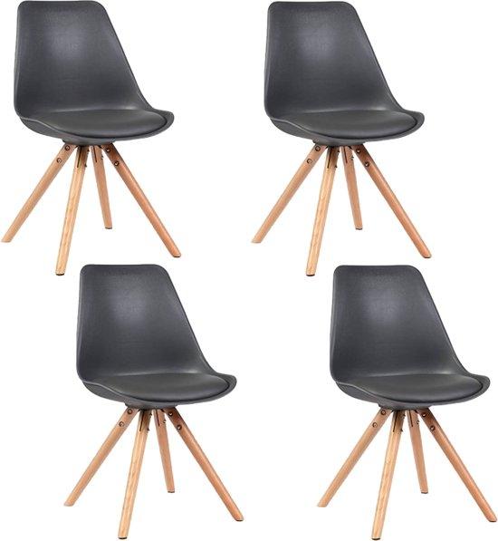 4 Eet Kamer Stoelen.Alpha Eetkamerstoelen Zwart Set Van 4
