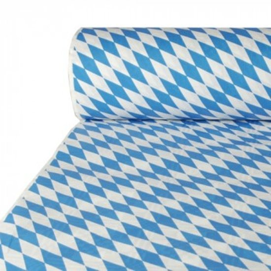 Tafelkleed papier met damastprint 50 m x 1 m 'Beiers blauw'