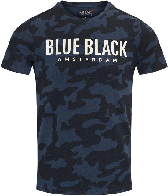 Blue Black Amsterdam Jongens T-shirt Tony - Blauwe Camouflage - Maat 152