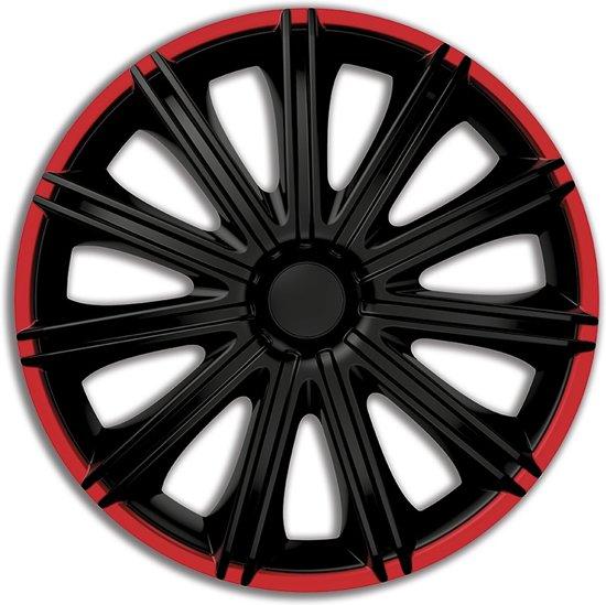 Autostyle Wieldoppen Nero 13 Inch Abs Zwart/rood Set Van 4