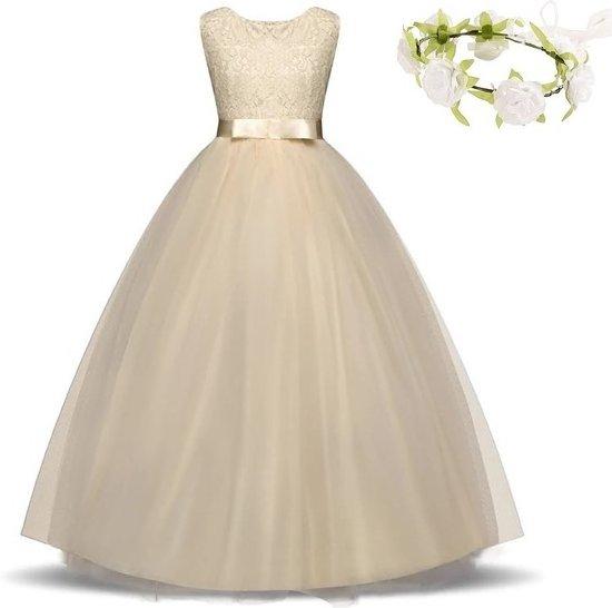 699443b1b08fab Communie jurk Bruidsmeisjes jurk bruidsjurk champagne 122-128 (130)  prinsessen jurk feestjurk +