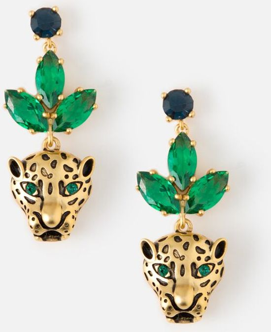 Orelia oorbellen - met groene steentjes en een panterhoofd - goudkleurig - 3 cm