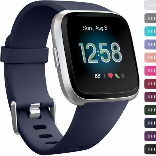 123Watches.nl Siliconen bandje - Fitbit Versa - Blauw - M/L