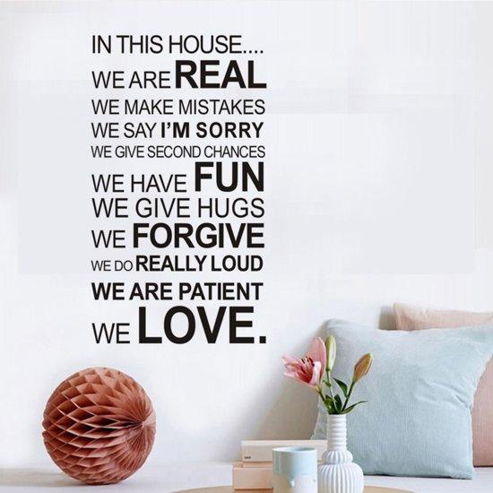 bol.com | Muursticker tekst In this house | woonkamer - slaapkamer ...