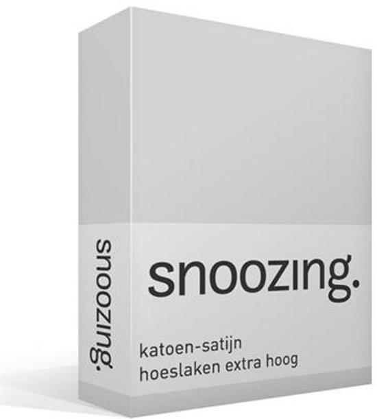 Snoozing - Katoen-satijn - Hoeslaken - Extra Hoog - Lits-jumeaux - 180x220 cm - Grijs