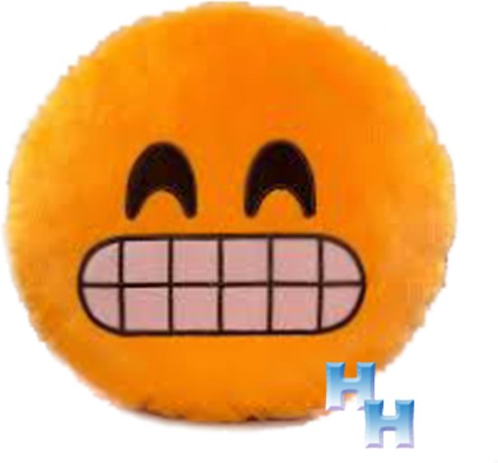 "Emoji - Emoticon --Smiley - Knuffel -kussen -""grijnzen"""