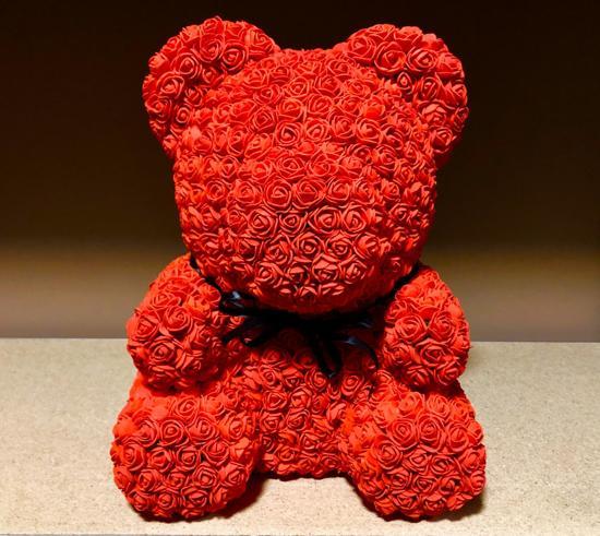 Unieke Handgemaakte Teddy Rose Bear met Met 1000 Roosjes ( 2 CM per Roosje ) +- 40 CM