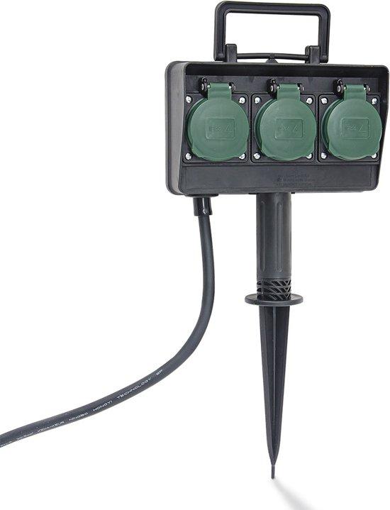 Relaxdays stekkerdoos buiten 3 stopcontacten for Cable de telephone exterieur