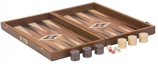 Walnoot Backgammon Set- 3 kgs. 47 x 50 x 7 cm. Superdeluxe backgammon spel