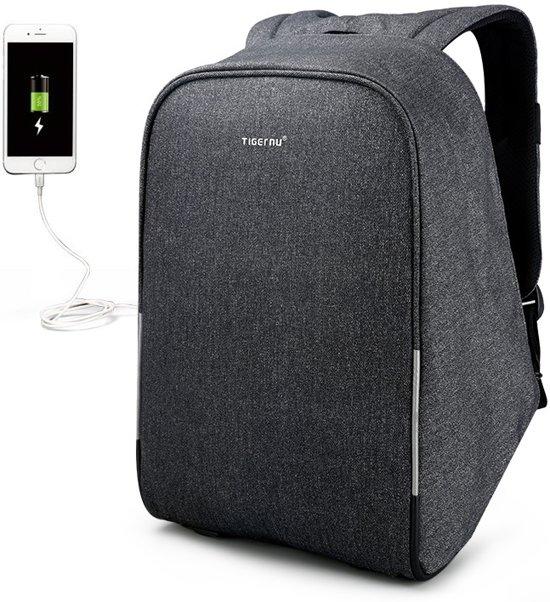 Tigernu Security laptop rugzak anti diefstal usb 12,5 tot 15,6 inch grijs