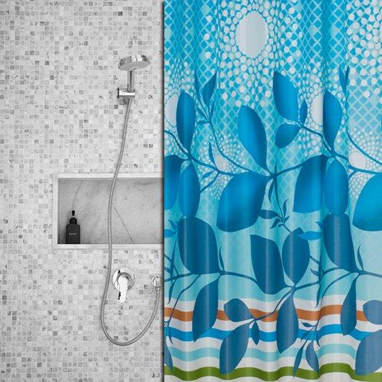 Roomture - douchegordijn - Blue Leaf - 180 x 200 cm