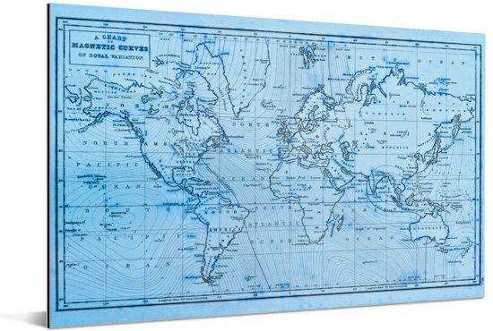 Blauwe wereldkaart met magnetic curves Aluminium 60x40 cm