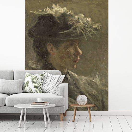 Fotobehang vinyl - Modelstudie van Sijtje van Bemmel - Schilderij van Jozef Israëls breedte 270 cm x hoogte 360 cm - Foto print op behang (in 7 formaten beschikbaar)