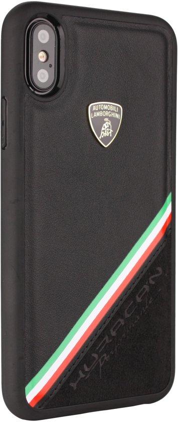 Lamborghini backcover hoesje Alcantara Apple iPhone XR Zwart - Genuine Leather - Echt leer