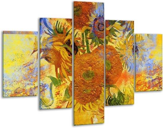 Glasschilderij Klassiek | Geel, Blauw, Bruin | 100x70cm 5Luik | Foto print op Glas |  F004851