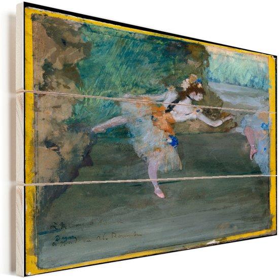 Dancer Onstage - Schilderij van Edgar Degas Vurenhout met planken 80x60 cm - Foto print op Hout (Wanddecoratie)