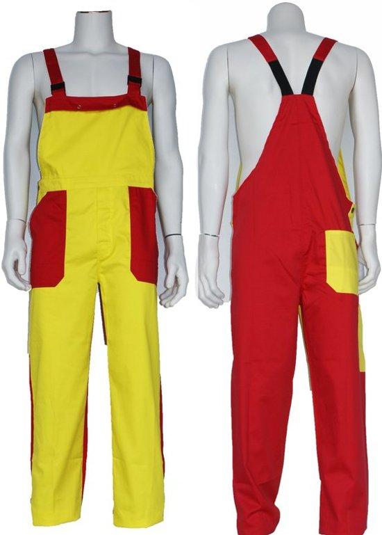 Yoworkwear Tuinbroek polyester/katoen donker geel-rood maat 164