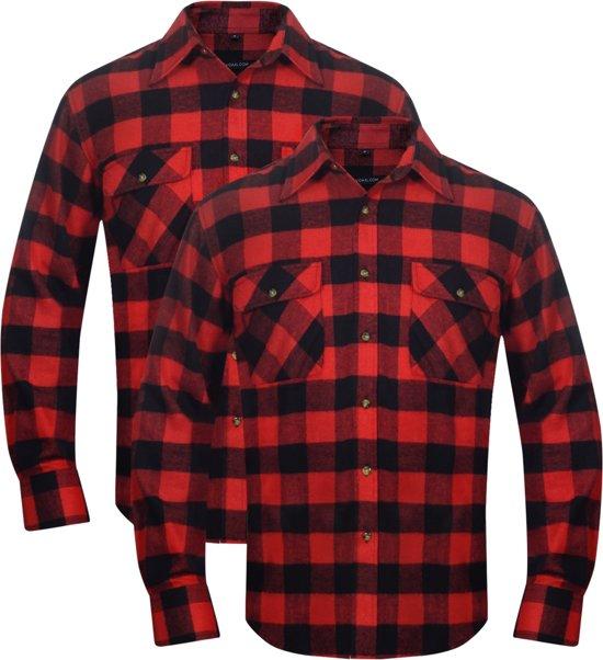Rood Zwart Overhemd.Bol Com Vidaxl Overhemd Rood Zwart Geblokt Flanel Maat Xxl 2 St