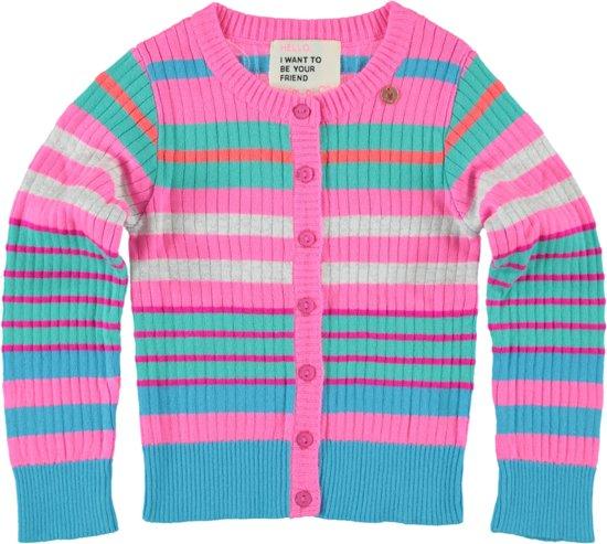 Mim-pi Meisjes Vest - Jeansblauw - roze - Maat 116
