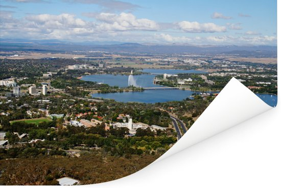 Luchtfoto van Canberra en Lake Burley Griffin Poster 30x20 cm - klein - Foto print op Poster (wanddecoratie woonkamer / slaapkamer)