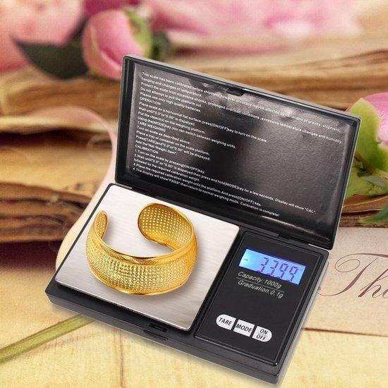 Mini weegschaal / Digitale weegschaal / Precisie weegschaal / Keuken weegschaal / Zakweegschaal - Van 0,1 tot 1000 gram - precisieweegschaal 1kg